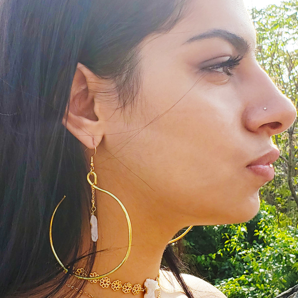 Blissful Charisma Large Hoop 16 Karat Gold Crystal Quartz Earrings Baddest Bish Ever Fine Jewelry Butterfly Vibe Collection