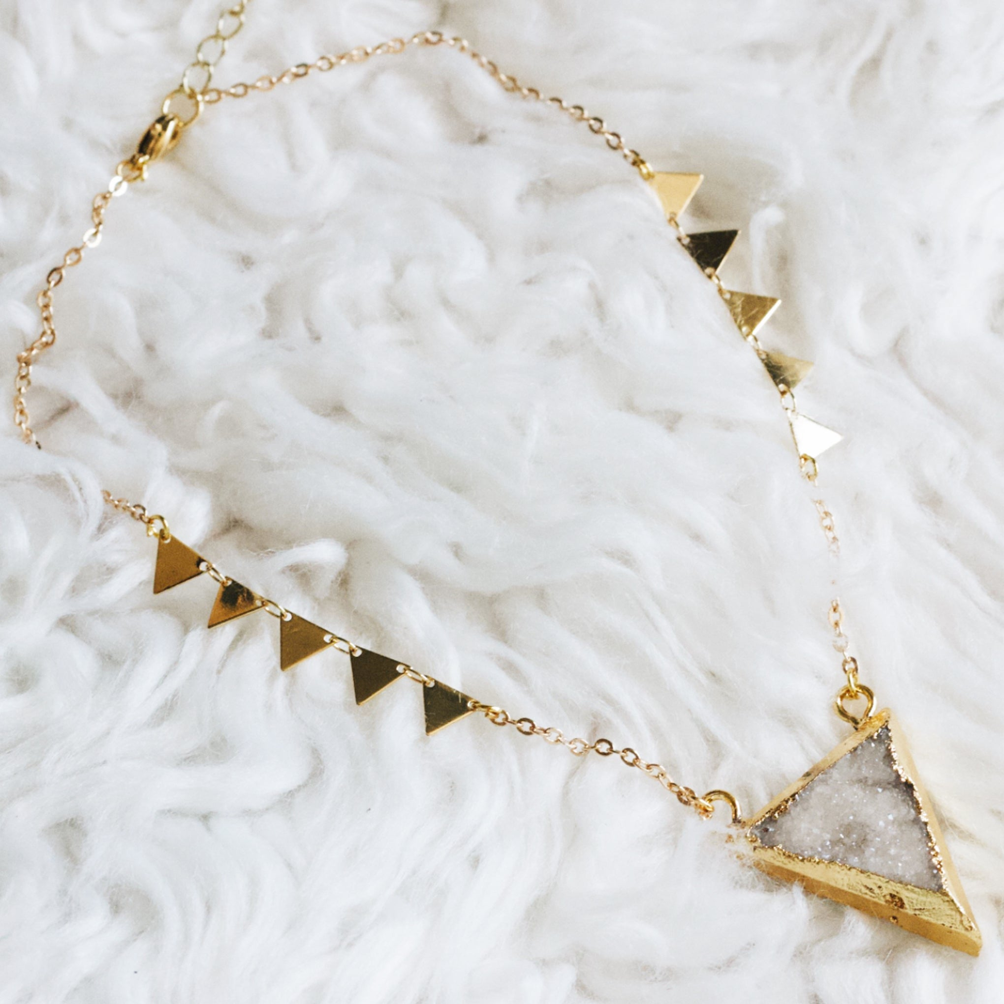 Baddest Bish Ever Fine Jewelry Iceberg Isla White Druzy Crystal 18 Karat Gold Choker in Dreamy Dreams Catcher Collection