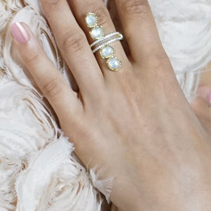 baddest bish ever fine jewelry Moonglow cracked mother of pearl 18 Karat gold ring in bohemian rhapsody collection