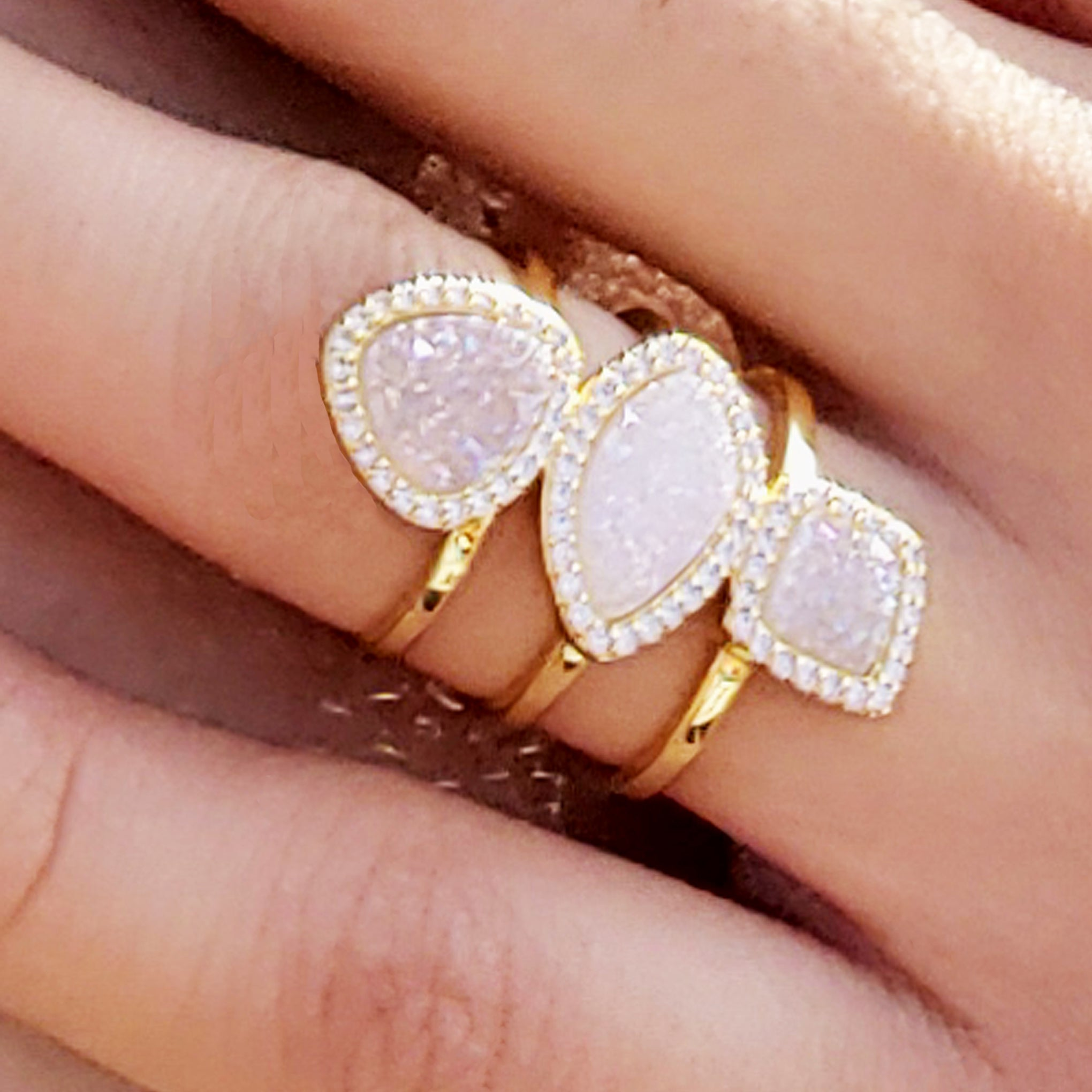 baddest bish ever fine jewelry Illume Illuminati White Druzy Crystal 18 Karat Gold Ring from butterfly vibe collection close up
