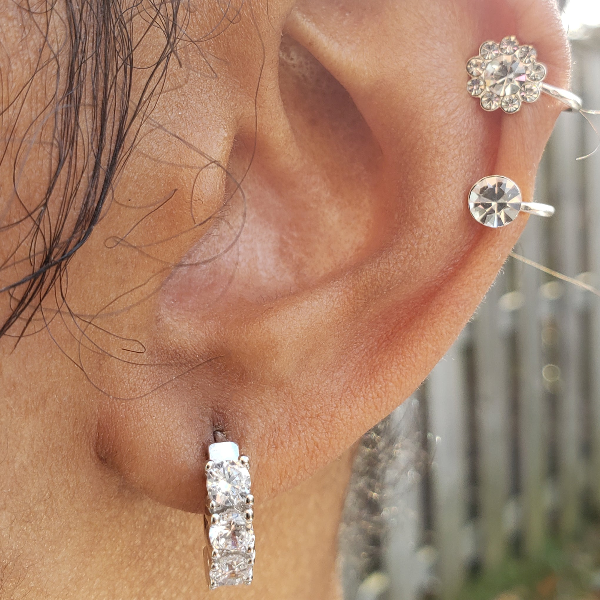 baddest bish ever fine jewelry Coco Rocks Small Hoop Sterling Silver and CZ Ear Huggies Butterfly Vibe Collection