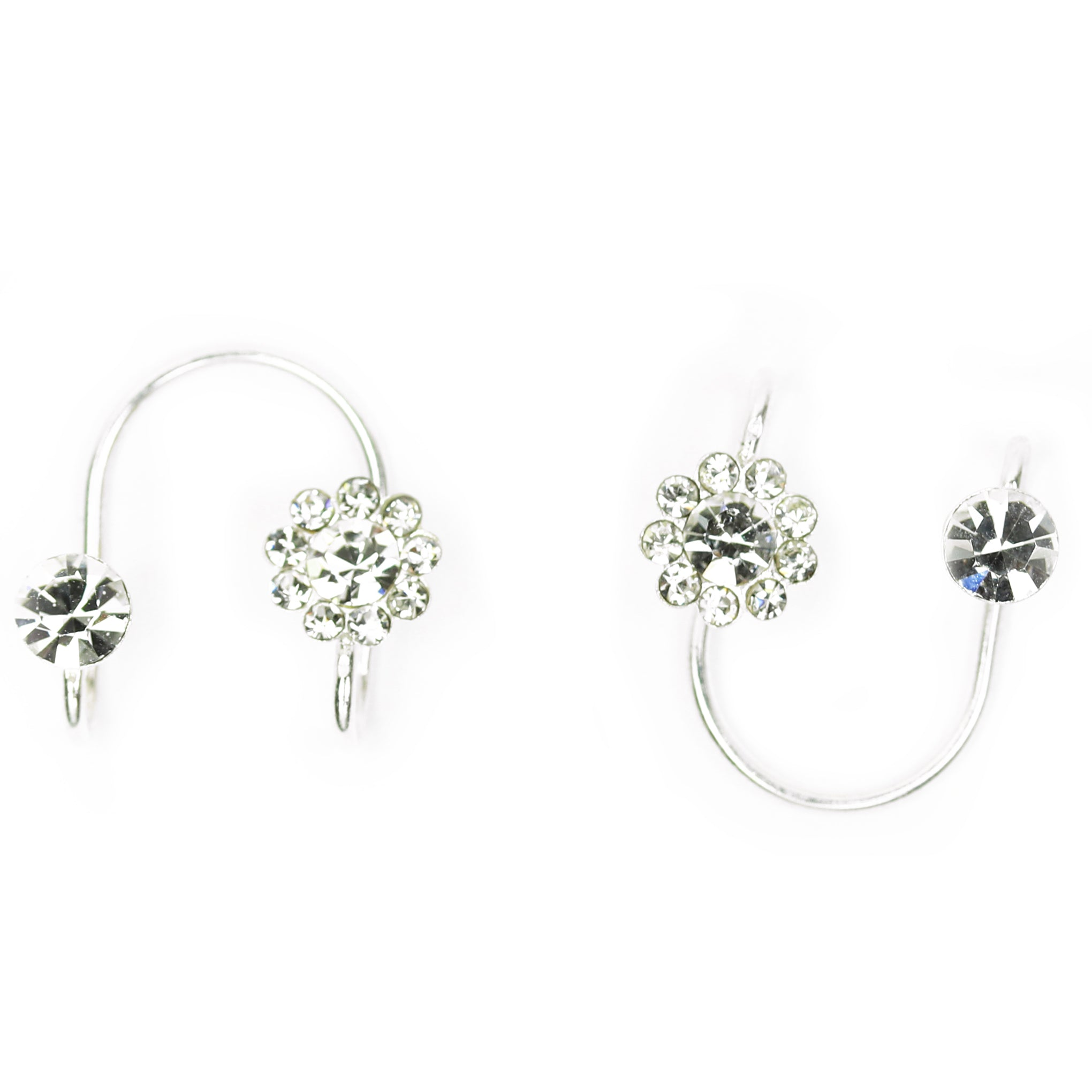 Baddest Bish Ever Fine Jewelry Flower Up 925 Sterling Silver Swarovski Crystals Ear Cuffs in Butterfly Vibe Collection