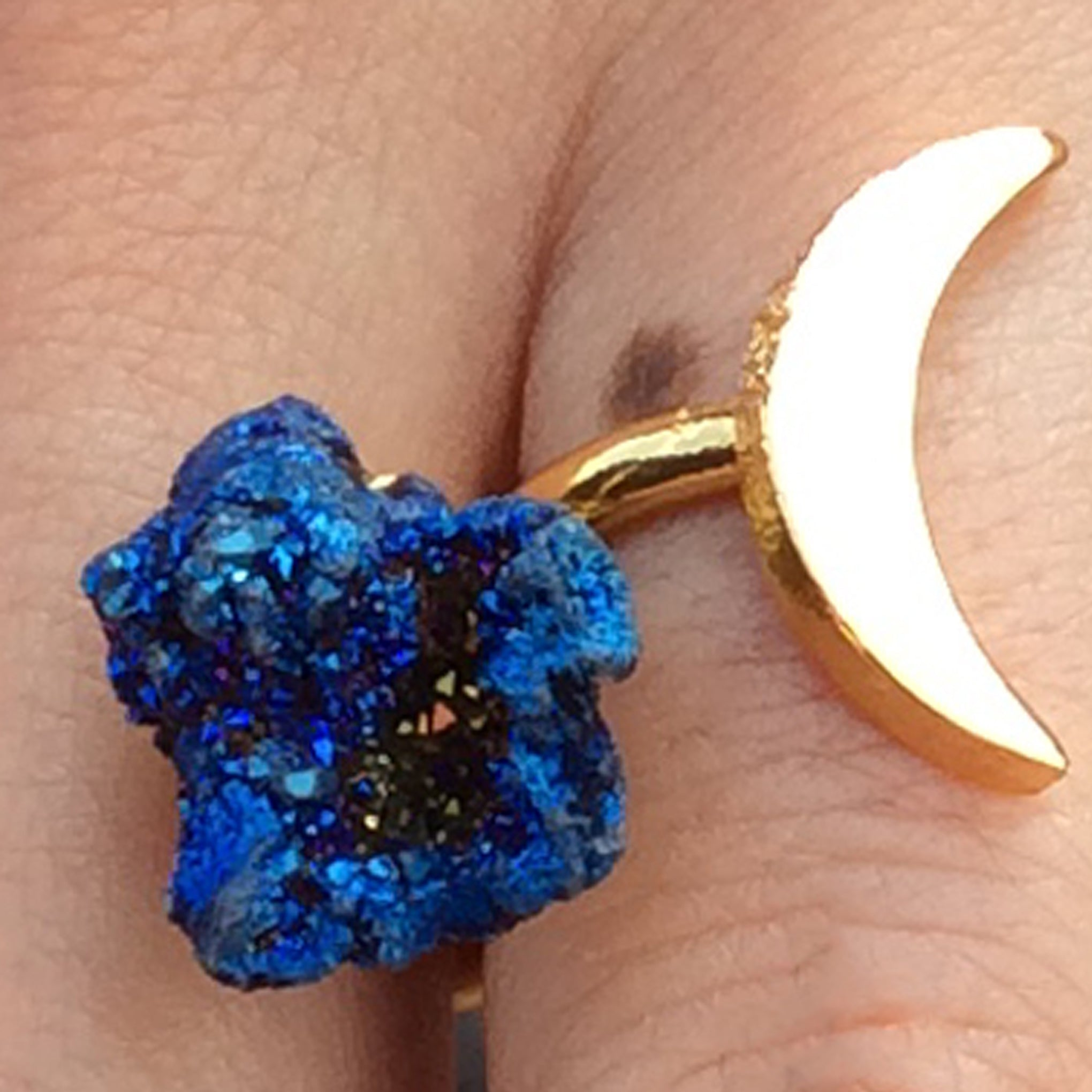 Baddest Bish Ever Fine Jewelry Dreamy Dreams Collection Triple Eclipse Glitterati Blue Titanium Coated Druzy Quartz Crystal 16KT Gold Ring model wearing
