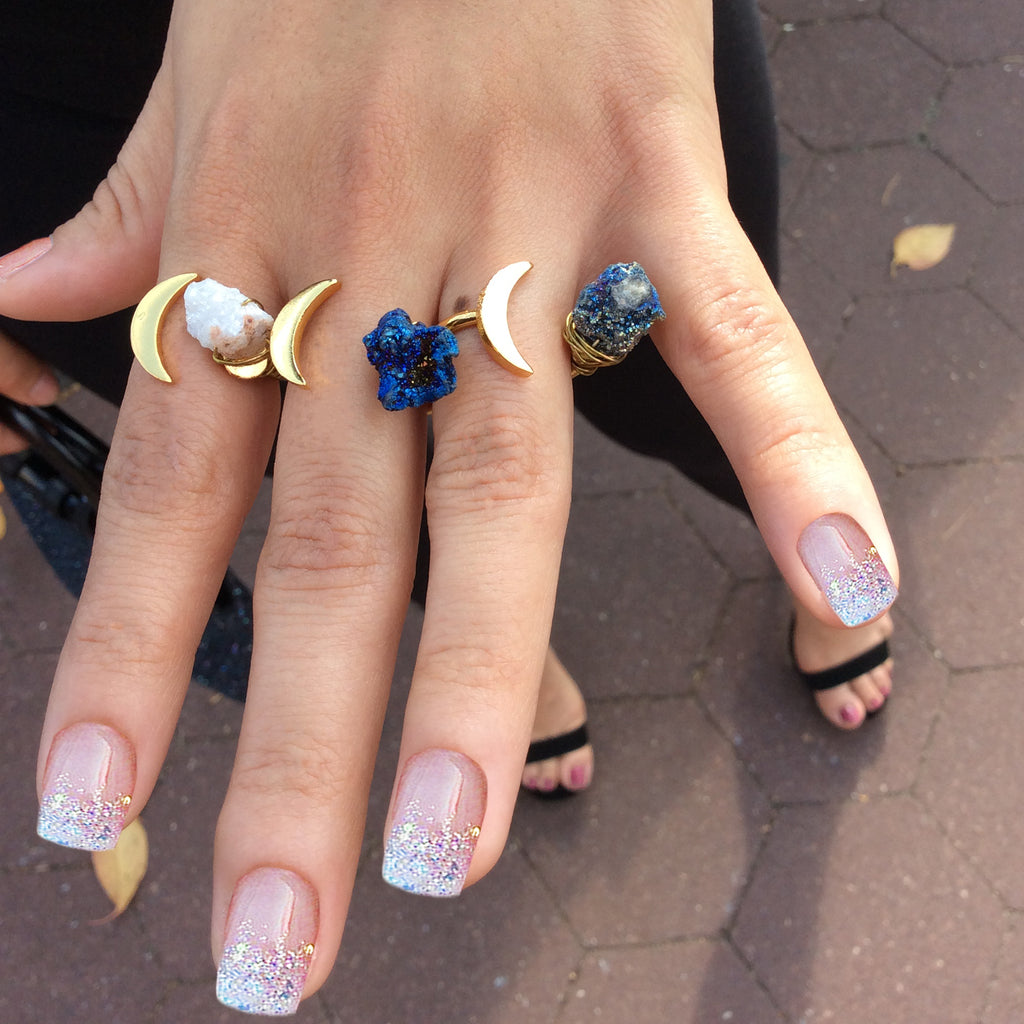 Baddest Bish Ever Fine Jewelry Dreamy Dreams Collection Triple Eclipse Glitterati Druzy Quartz Crystal 16KT Gold Ring model wearing
