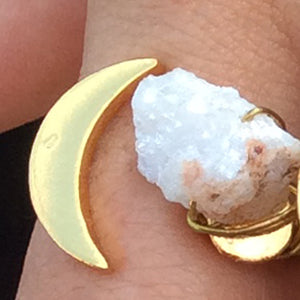 Baddest Bish Ever Fine Jewelry Dreamy Dreams Collection Triple Eclipse Glitterati White Druzy Quartz Crystal 16KT Gold Ring model wearing