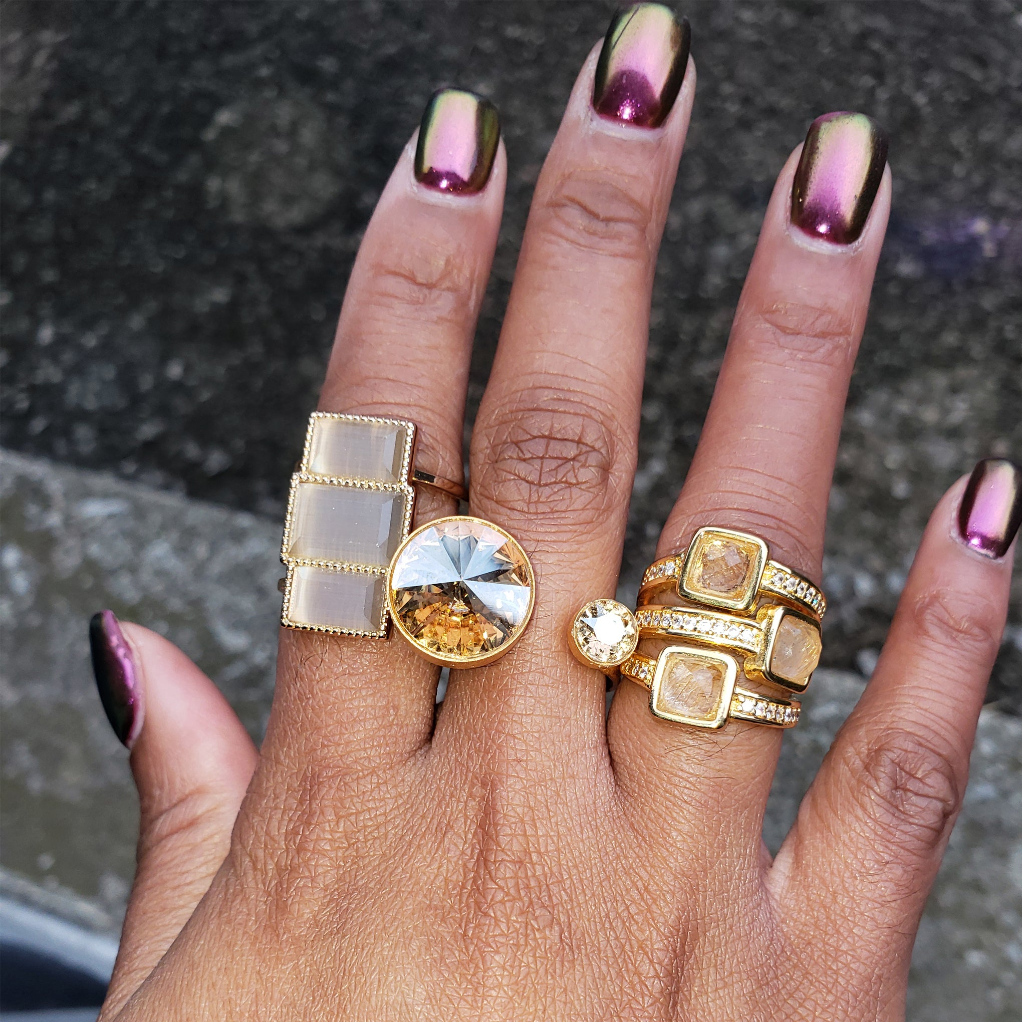 Baddest Bish Ever Fine Jewelry Egyptian Royalty Collection Wild Shen Rutilated Quartz 18 Karat Gold Ring Beautiful Model Wearing