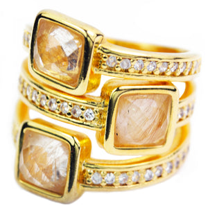 Baddest Bish Ever Fine Jewelry Egyptian Royalty Collection Wild Shen Rutilated Quartz 18 Karat Gold Ring close up