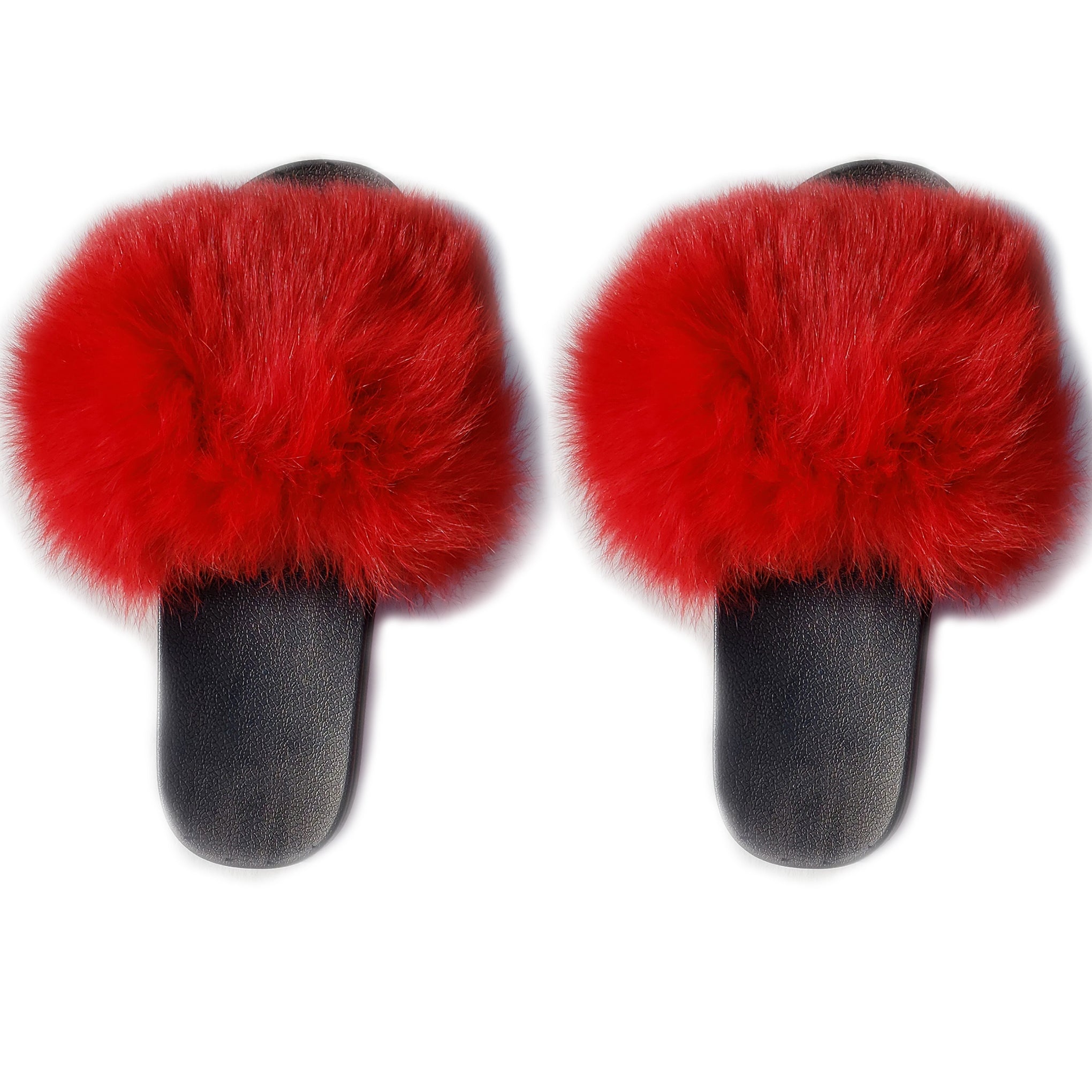 Baddest Bish Ever Luxury Accessories Flou Fox Fur Red Slippers