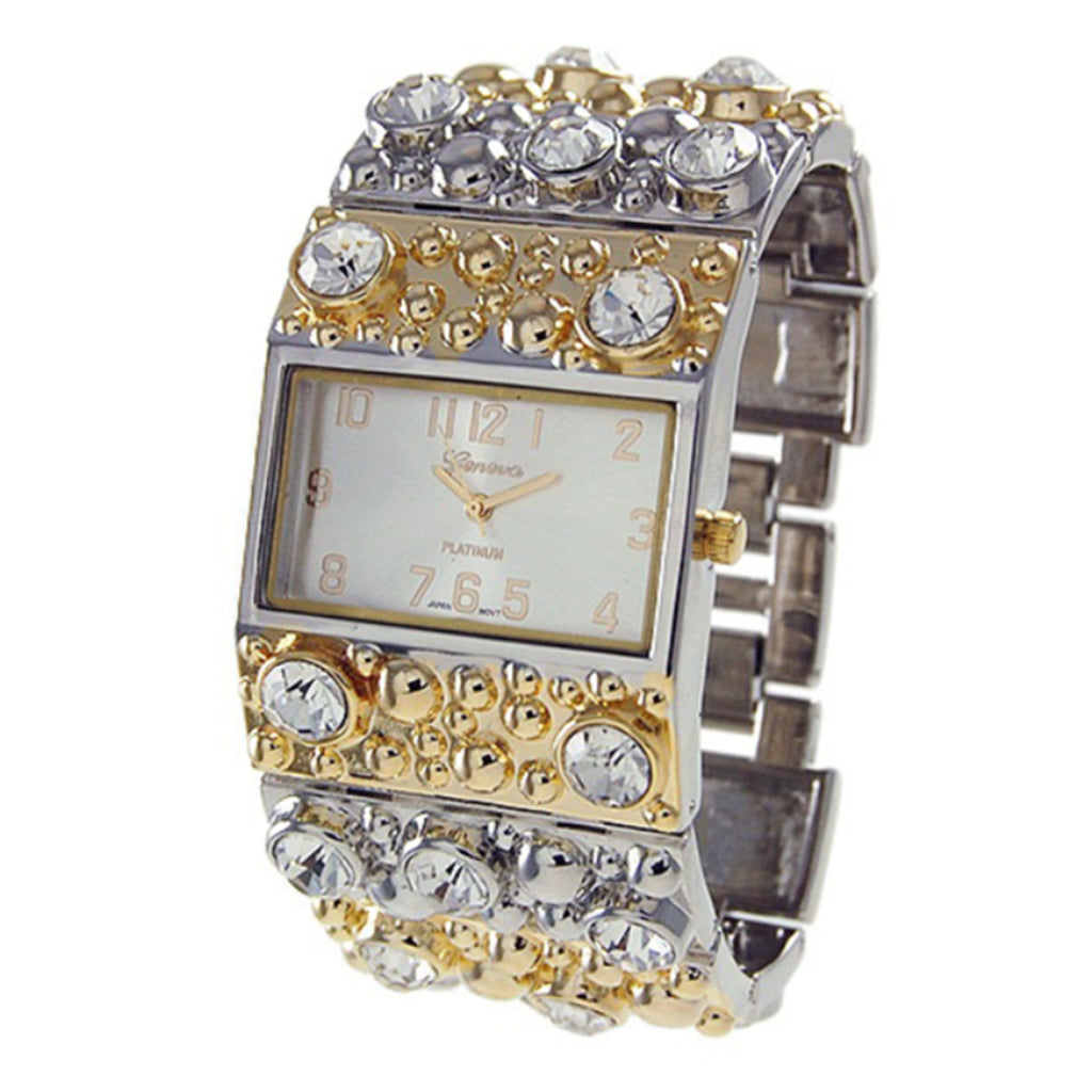 baddest bish ever fine jewelry luxury gold and silver ratio stones bangle watch