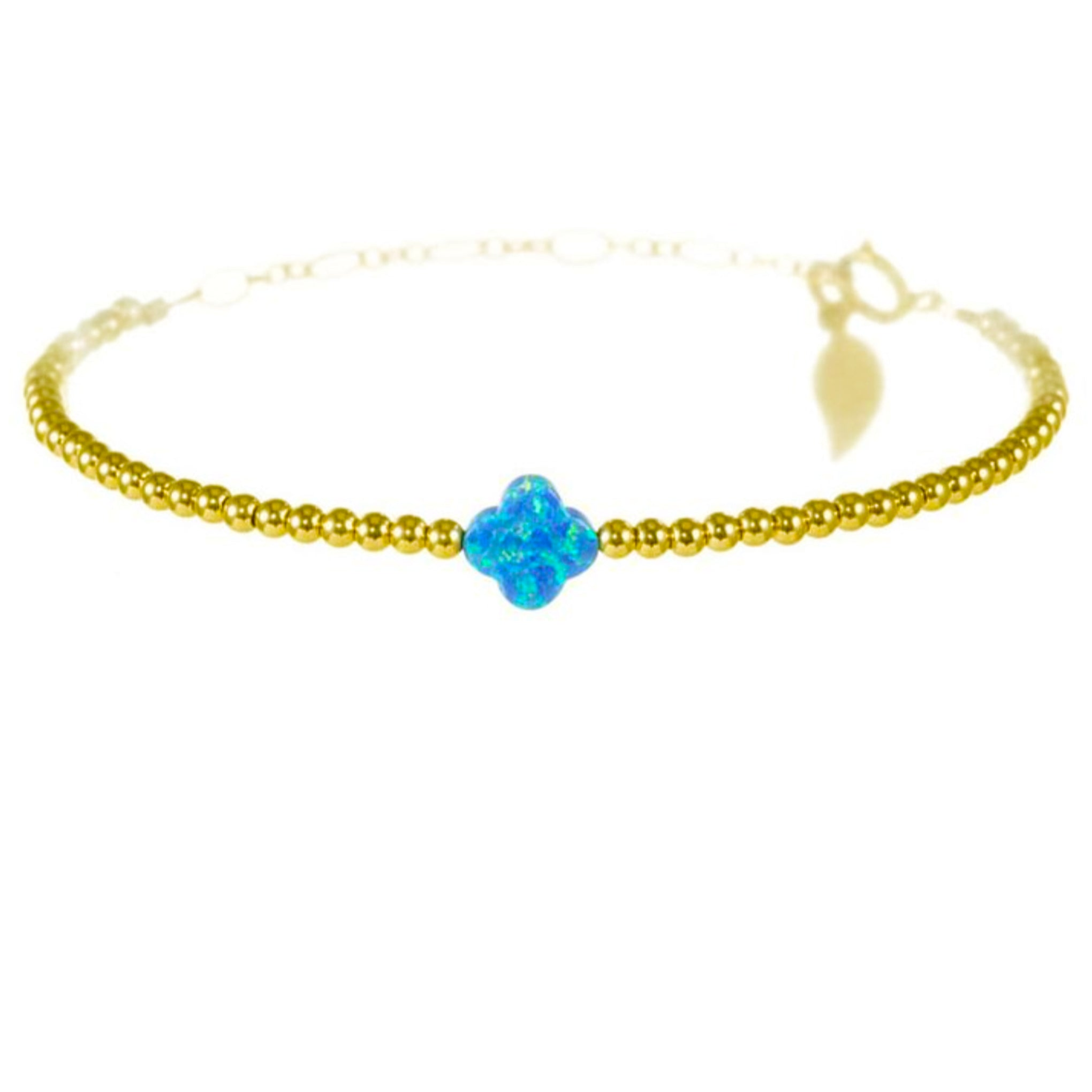 Rainbow Chanceux Clover Baby Blue Pearl 14KT Gold Ball Beads Bracelet in Butterfly Vibe Collection