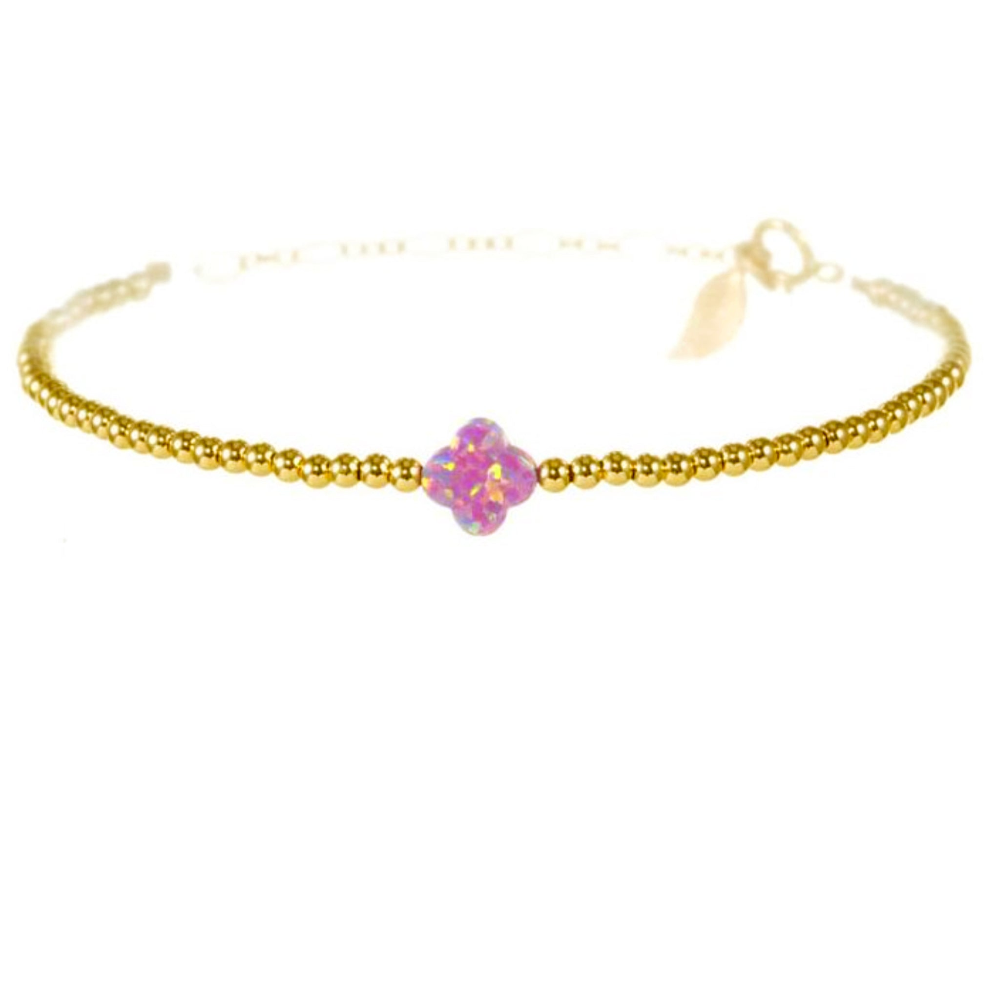 Rainbow Chanceux Clover Lush Lavender Pearl 14KT Gold Ball Beads Bracelet in Butterfly Vibe Collection