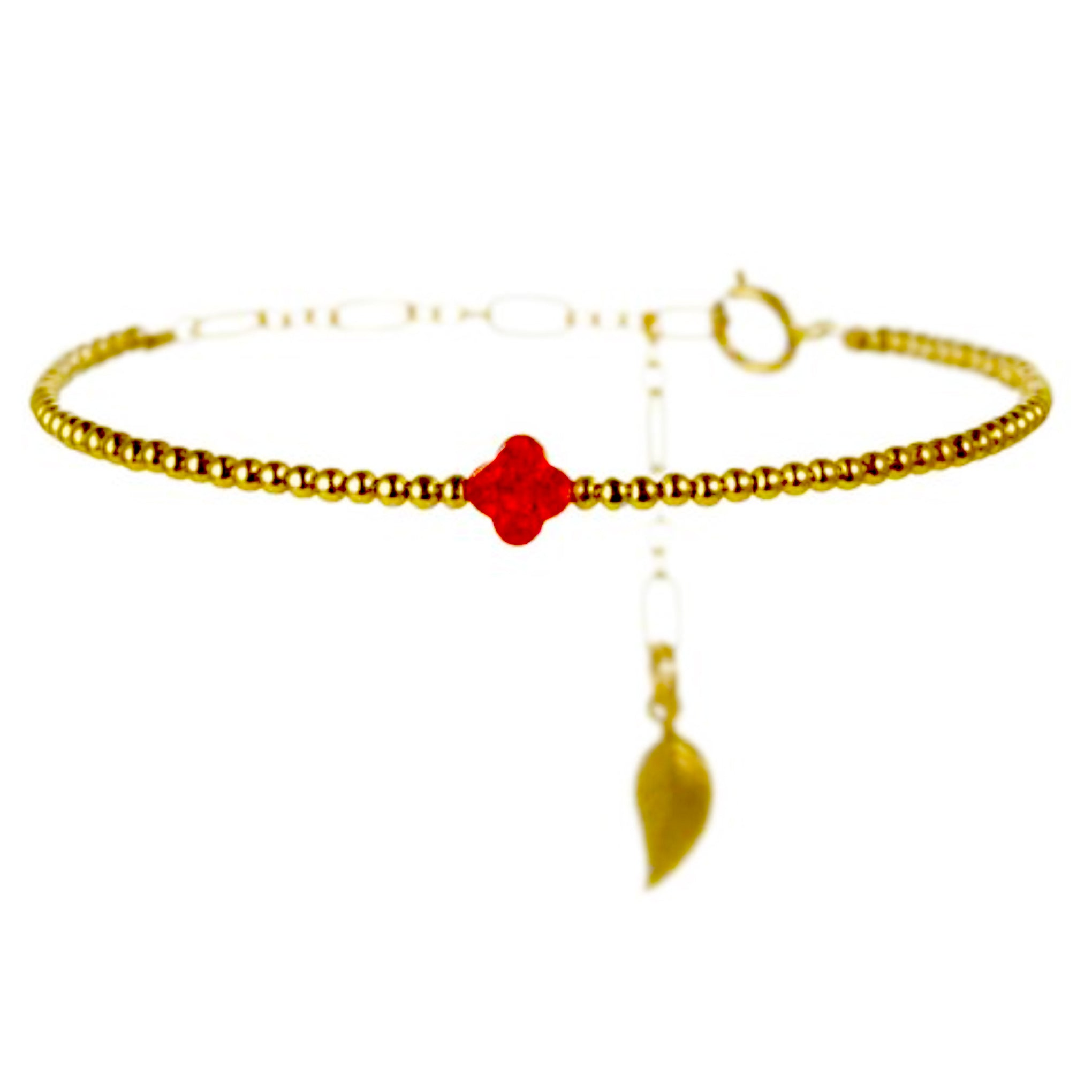 Rainbow Chanceux Clover Ruby Red Pearl 14KT Gold Ball Beads Bracelet in Butterfly Vibe Collection