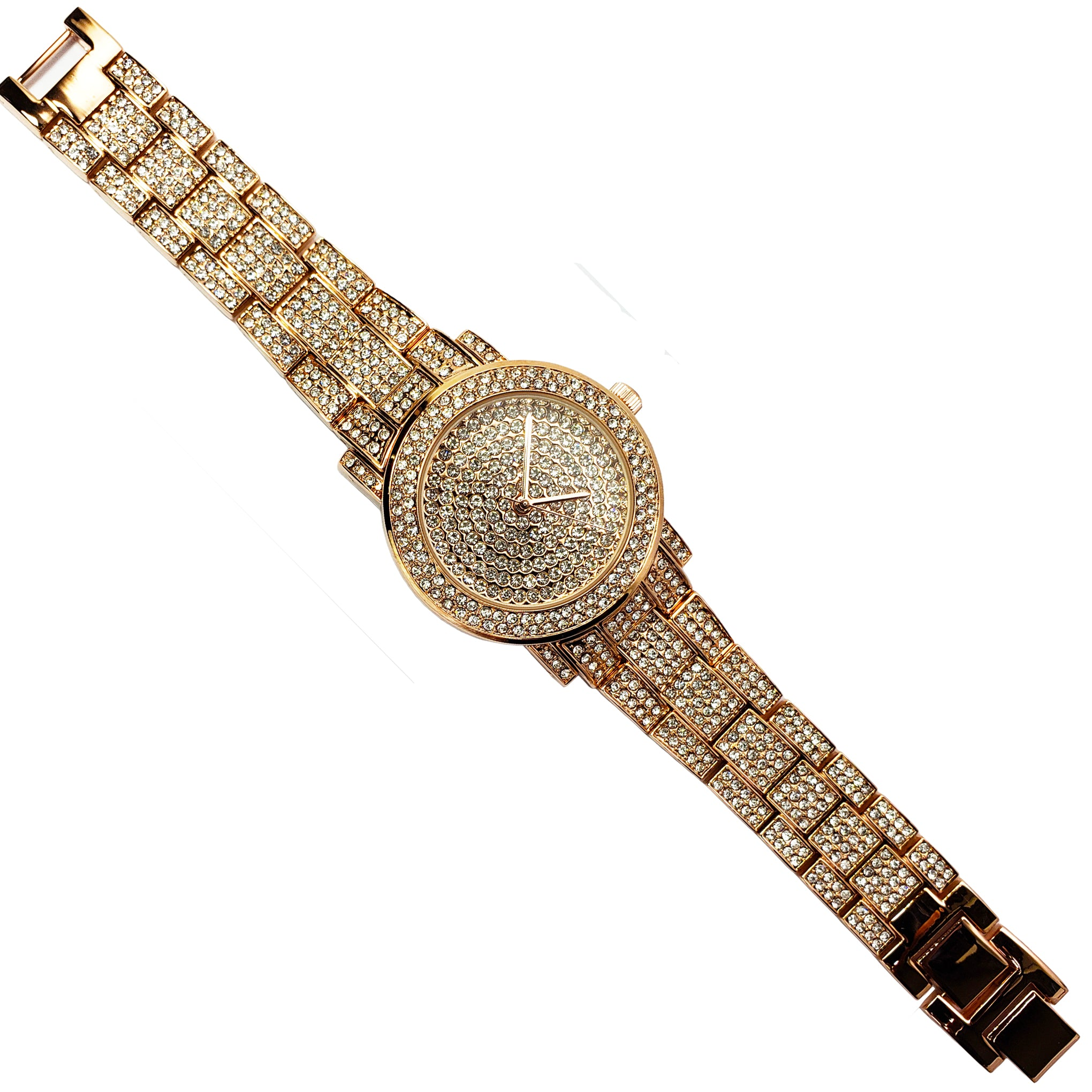 Baddest Bish Ever Fine Jewelry Luxury Swarovski Crystal Rose Gold Watch Timepiece full length