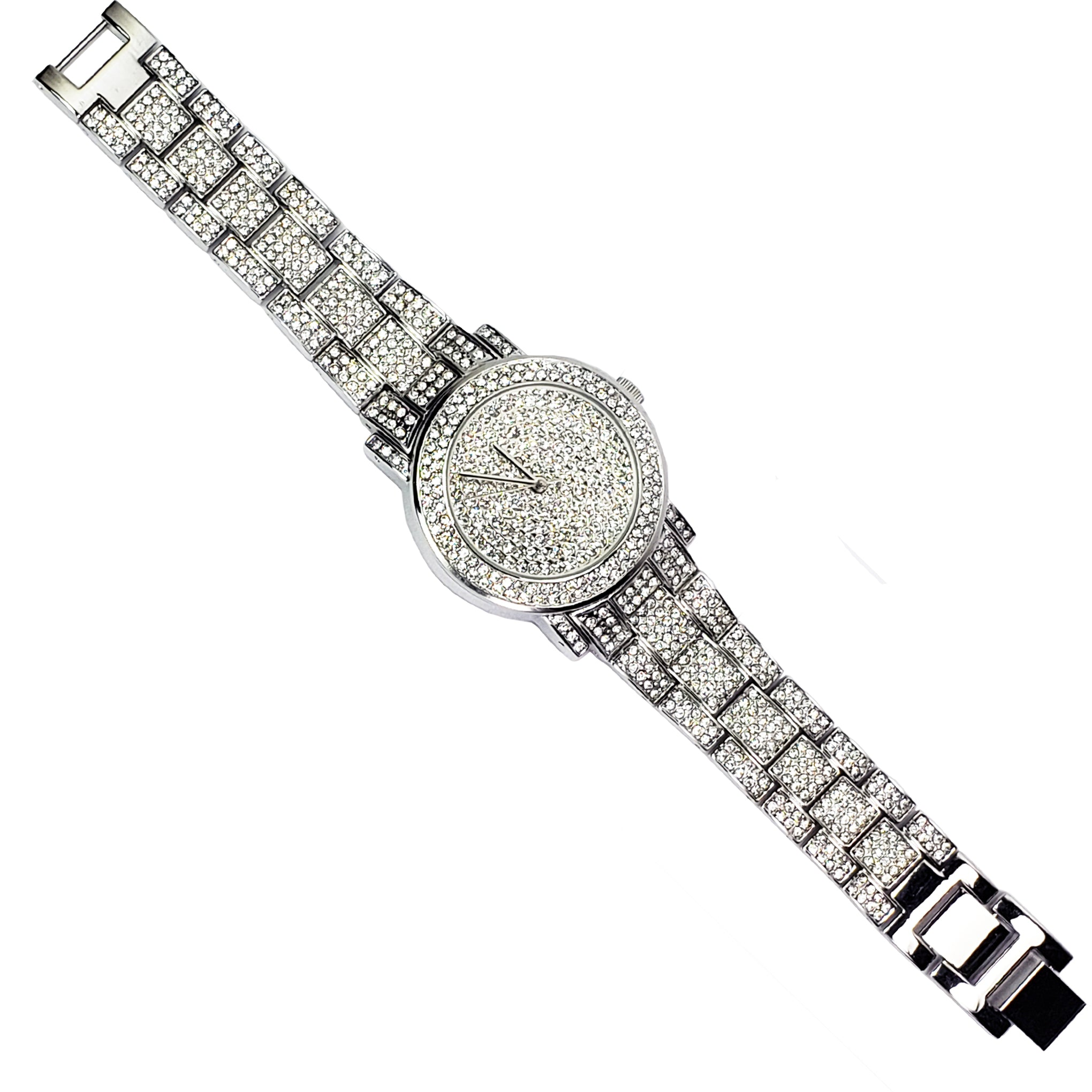 Baddest Bish Ever Fine Jewelry Luxury Swarovski Crystal and Silver Watch Timepiece full length