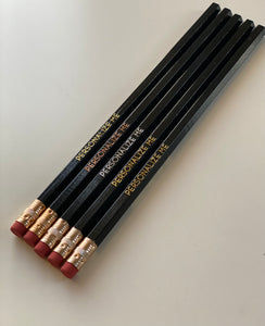 Set of 5 Personalized Pencils-Black