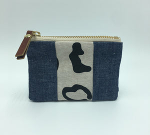 Small Leopard Double Chambray Panel Pouch