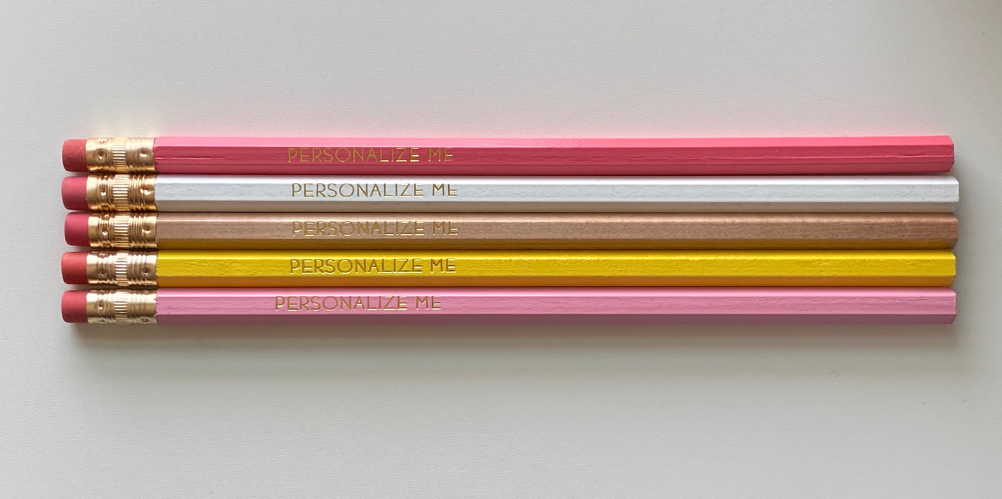 Set of 5 Personalized Pencils-Happy