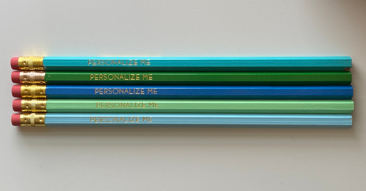 Set of 5 Custom Stamped Personalized Pencils-Sea Foam