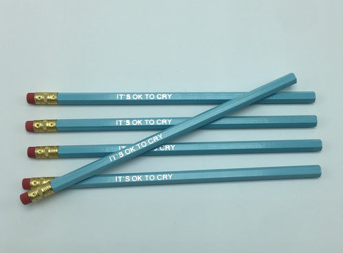 It's Ok To Cry Pencils in Pastel Blue