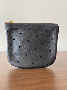 Black Perforated Leather Pouch