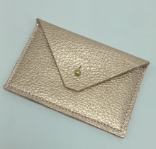 Load image into Gallery viewer, Metallic Rose Gold Leather Card Case