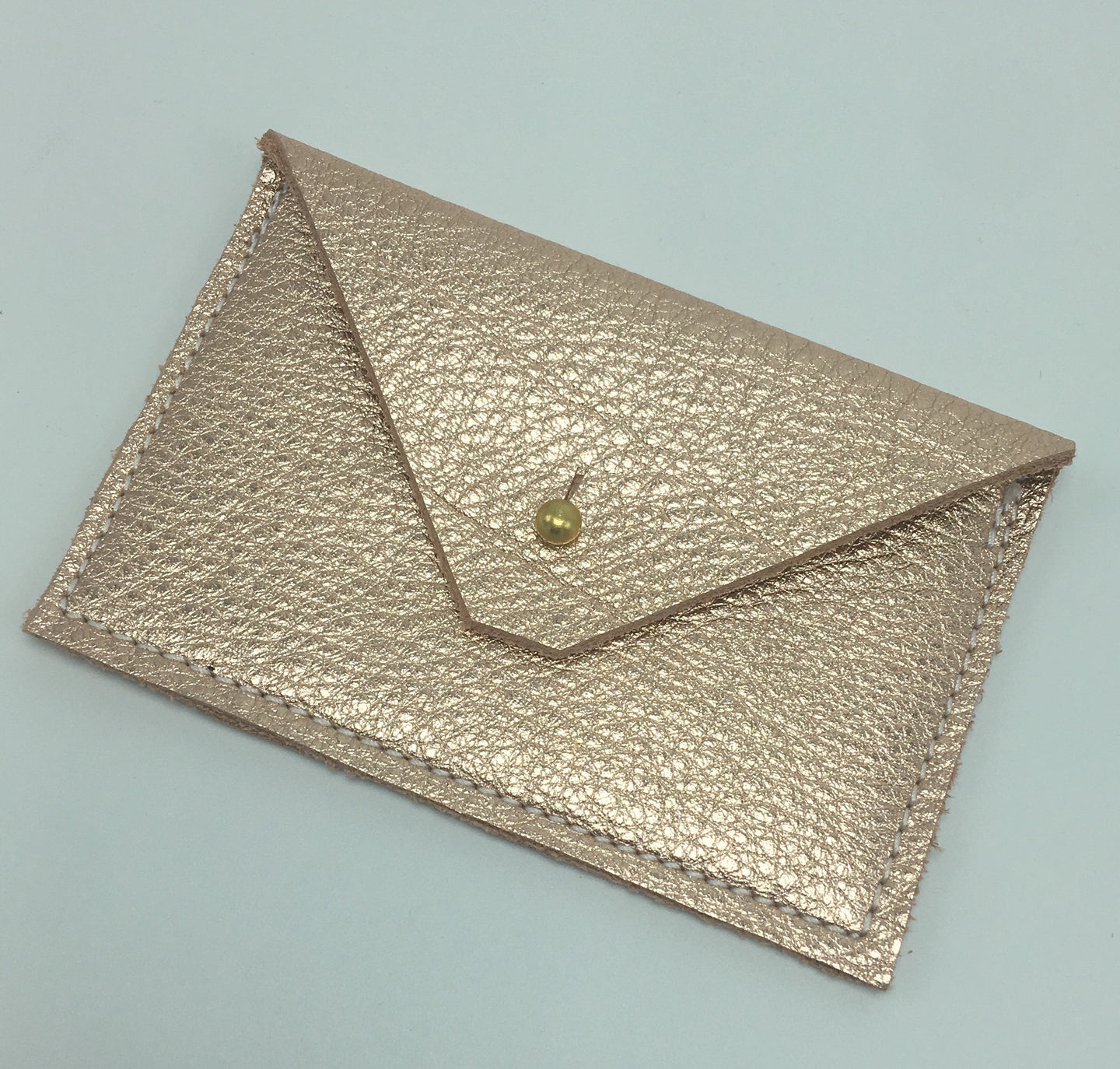 Metallic Rose Gold Leather Card Case