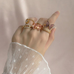 Crystal Glass Butterfly Ring