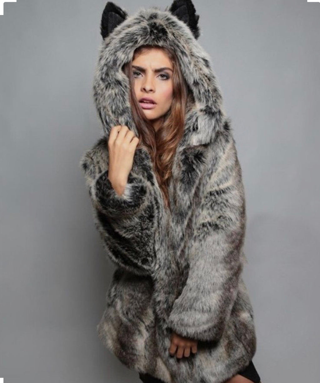 Warm Fox Hood Fur Coat