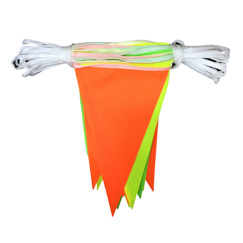 Multicoloured Hi-Vis Fabric Bunting - 10 metres