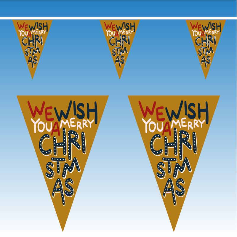 Gold Christmas Bunting - 10 metres