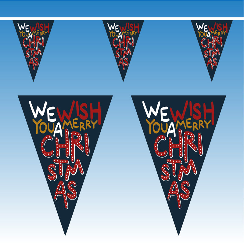Blue Merry Christmas Bunting - 10 metres