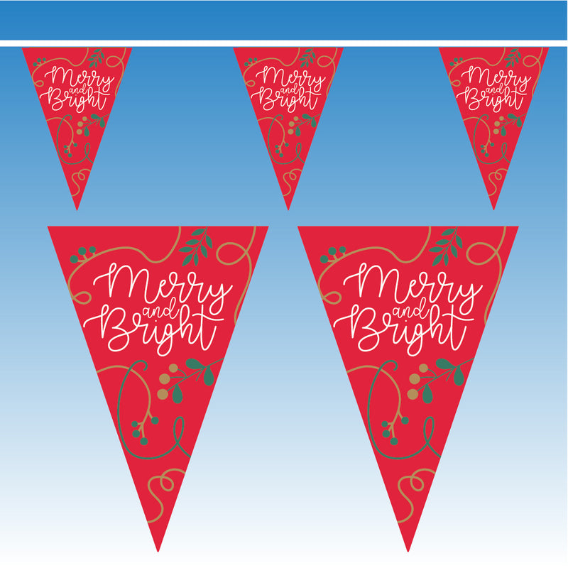 Red Blue Merry & Bright Bunting - 10 metres