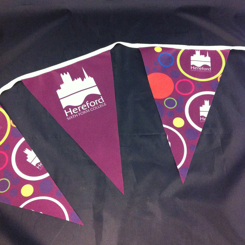 Bespoke Printed Polyester Fabric Bunting - A4 Triangles