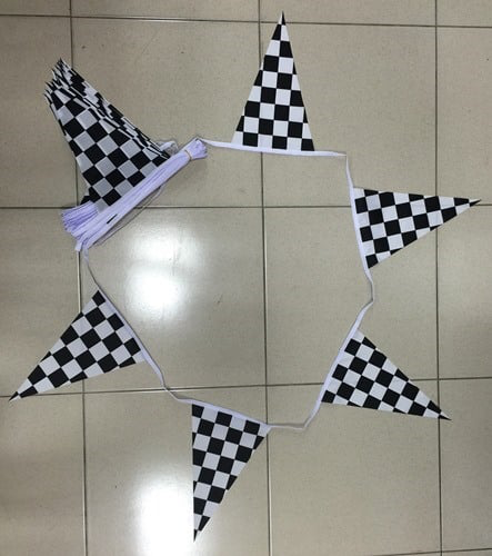 Black/White Checkered Triangle Bunting - 20 metres