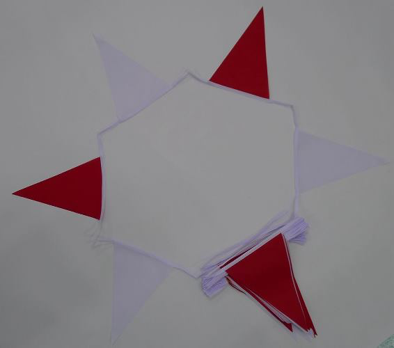 Red/White Triangle Bunting - 20 metres