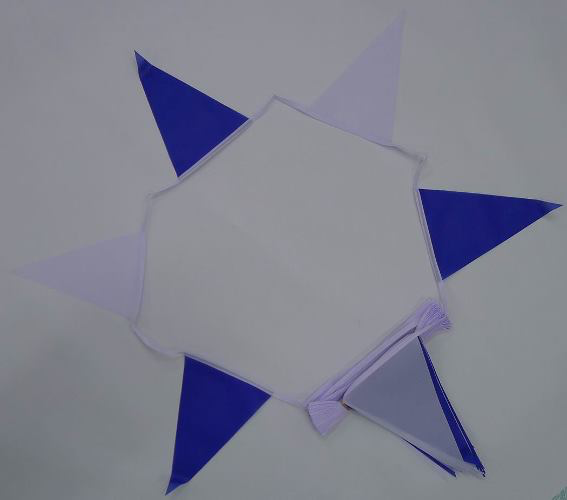 Royal Blue/White Triangle Bunting - 20 metres