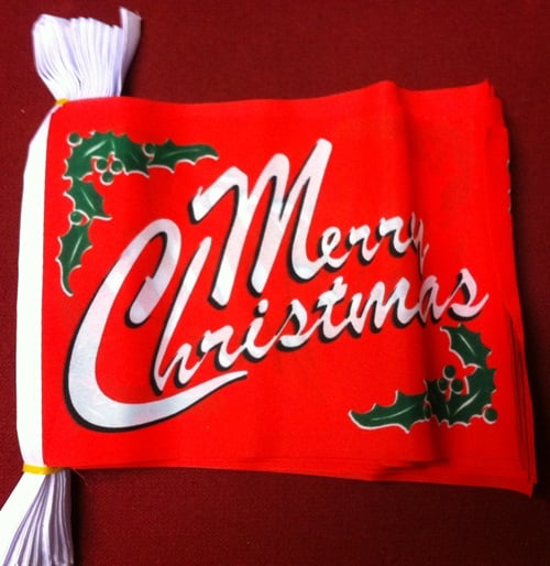 6m 20 Flag Merry Christmas Red Bunting