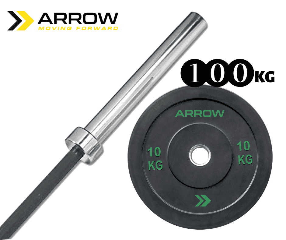 ARROW Functional Barbell & Bumper Weight Plate Package (100kg)