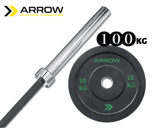 ARROW 20kg Olympic Barbell & Bumper Weight Plate Package (100kg)