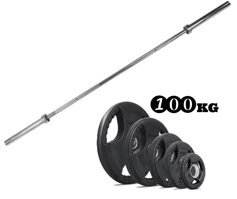 100kg Olympic Rubber Coated Weight Plate & Barbell Package