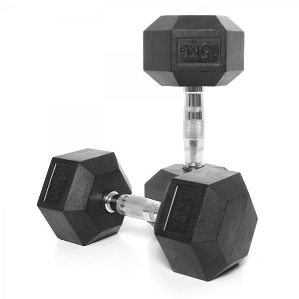 RUBBER HEX DUMBBELL PAIRS - RESTOCKED