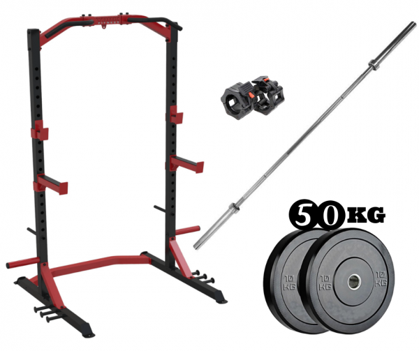 York Half Rack + Olympic Bar & 50kg ARROW Bumper Plate Package