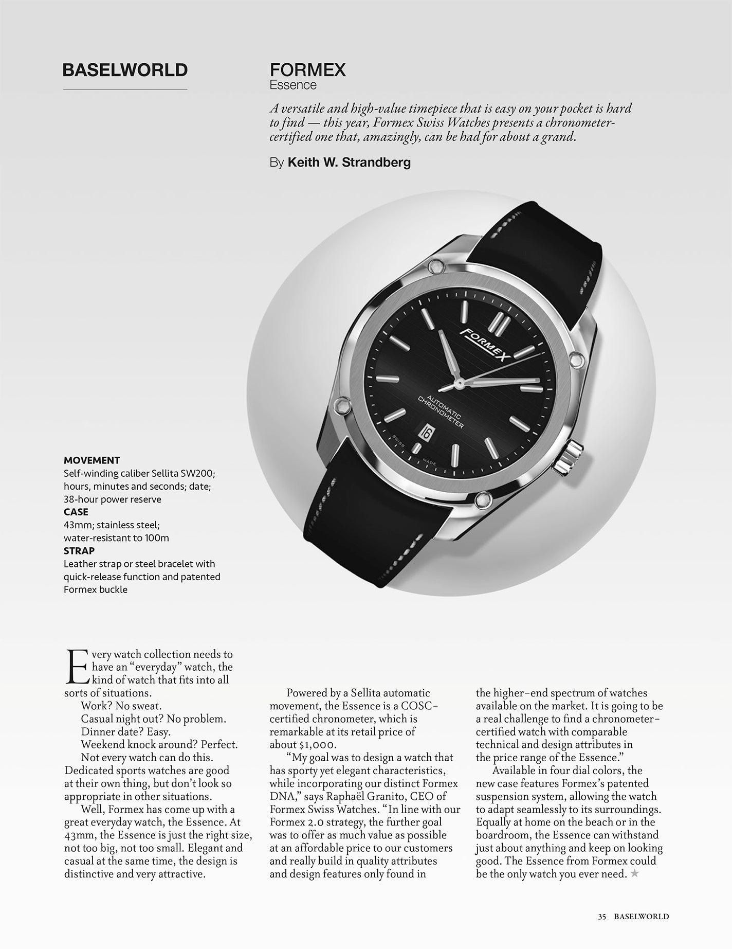 REVOLUTION: Formex Essence Automatic Chronometer