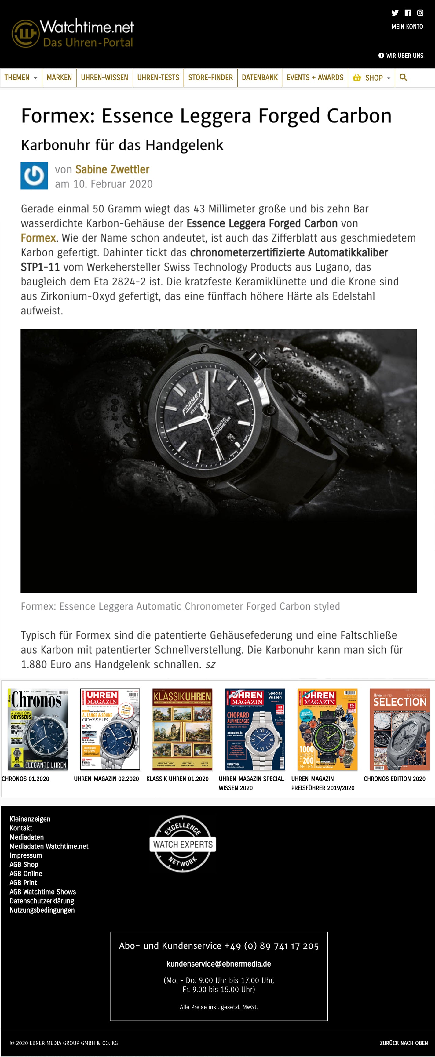 Formex Essence LEGGERA Automatic Chronometer in watchtime.net