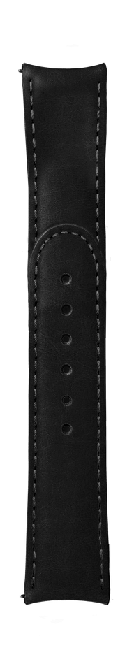 "ESSENCE ""Deployant"" Black Leather Strap Grey Stitching (without clasp)"