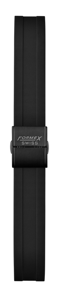 Rubber strap black (with black steel folding clasp)