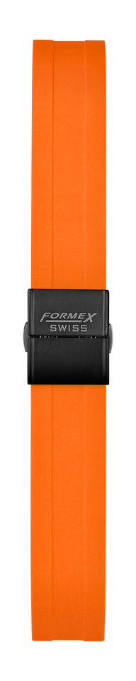 Rubber strap orange (with black steel folding clasp)