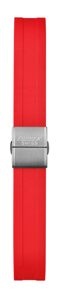 Rubber strap red (with steel folding clasp)