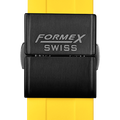Rubber strap yellow (with black steel folding clasp)