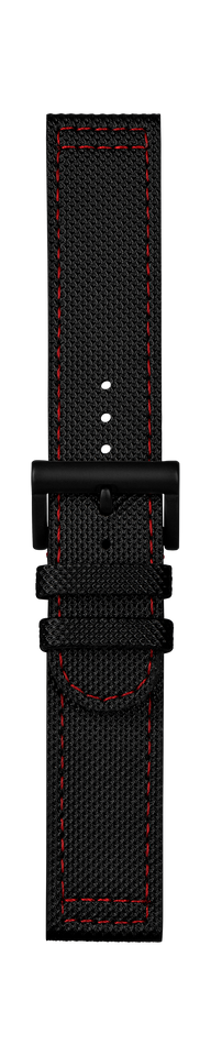 Leather strap black red stitching